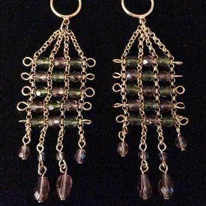 Gold Chain & Beads Chandelier Earrings